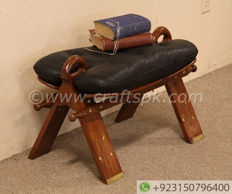 Wooden Camel Saddle Leather Cushion With Brass Inlay