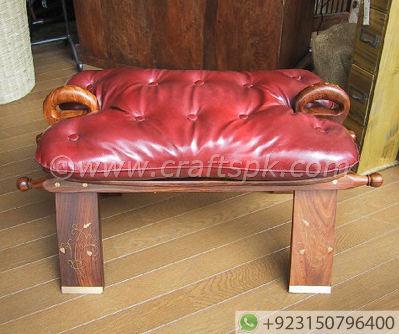 Wooden Camel Saddle Stool With Leather Cushion