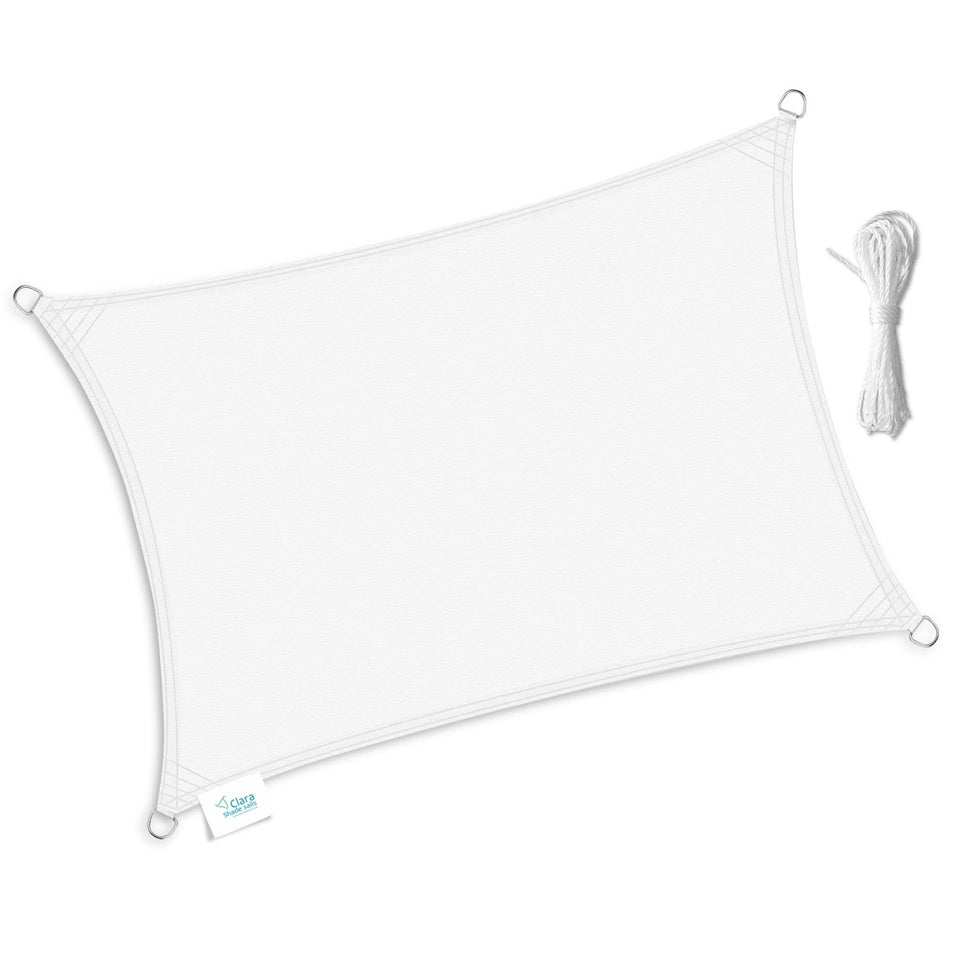 Rectangle Shade Sails White Waterproof UV Protective 2m x 3m, 3m x 4m, 4m x 5m