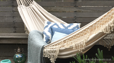 Hammock Brazilian White Cream linen with tassels