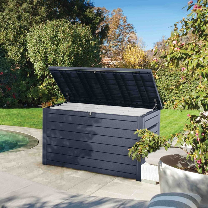 XXL Deck Box Wood Effect 870L - Brown or Anthracite - Clara Shade Sails