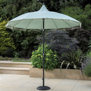 Beaded Garden Parasol Umbrella - Fringe Tassels 2.7m Crank Handle and Tilt - Cream or Pale Green - Outdoor Garden Patio - Clara Shade Sails