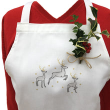 Christmas Reindeer Aprons White Silver Gold 100% Cotton Made in UK - REDUCED TO CLEAR - Clara Shade Sails