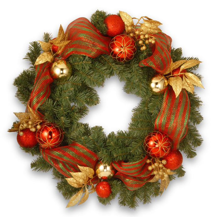 Artificial Green Christmas Wreath Red Green and Gold Decorations 30