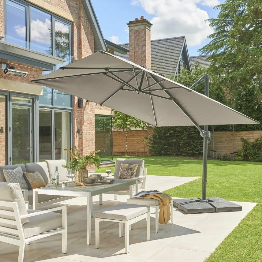 Large Square 3m x 3m Cantilever Parasol Umbrella Package - Umbrella + Cover + 100KG Base Stand - Taupe or Soft grey - Clara Shade Sails