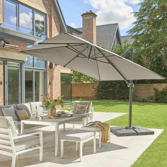 Norfolk Leisure Royce Medium Square 2.5m x 2.5m Cantilever Parasol Umbrella Package - Umbrella + Cover + 80KG Base Stand - Taupe, Soft Grey or Carbon - Clara Shade Sails