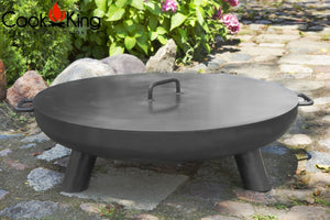 Cook King Fire Bowl Pit Lid Garden and Outdoor Patio Entertaining Portable Metal Round 80cm - Clara Shade Sails