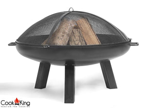Cook King Fire Bowl Pit Mesh Top Screen Garden and Outdoor Patio Entertaining Portable Metal Round 80cm - Clara Shade Sails