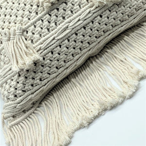 Natural Cotton Macramé Cushion Cover Tassels Fringe Bohemian 45cm - Clara Shade Sails