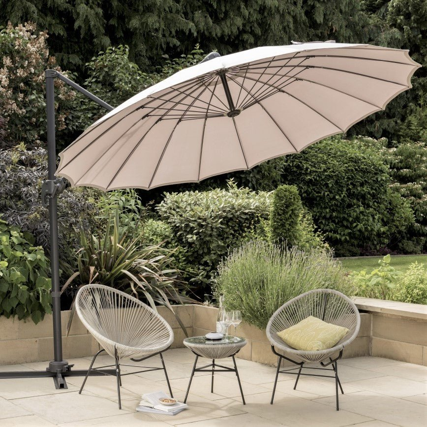 Norfolk Leisure Geisha Cantilever Parasol Garden Umbrella 3m Crank & Tilt - Grey - Clara Shade Sails