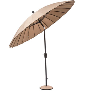 Geisha Style Garden Parasol Umbrellas - 2.7m Crank Handle and Tilt - Taupe, Fuscia, Lime, Purple, Aqua Outdoor Garden Patio - Clara Shade Sails