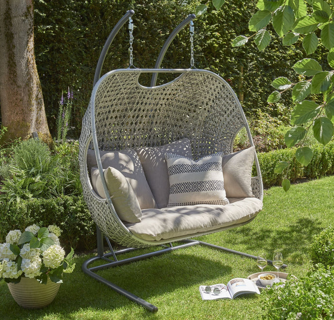 Double Cocoon Egg Chair Swing Heavy Duty Frame with Padded Cushion - Grey - Clara Shade Sails
