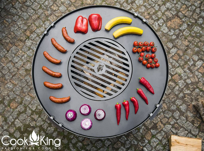 Cook King Fire Bowl Pit Grill Plate Garden and Outdoor Patio Entertaining Portable Metal Round 80cm - Clara Shade Sails