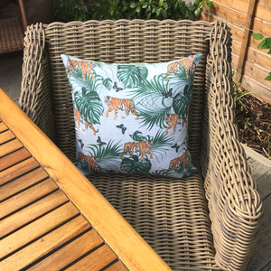 Tiger Waterproof Garden Cushion Cover Scatter Pillow Cover Tropical Jungle Rainforest - Clara Shade Sails