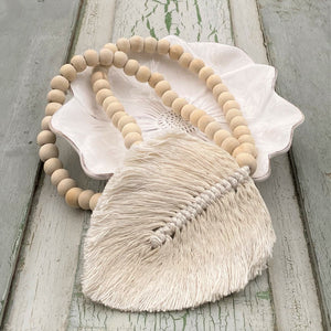 Decorative Macrame Feather Tassels - Natural Cotton Macramé Leaf Tassels Wooden Bead Curtain Tieback Wall Hanging 35cm - Tassel&Plume