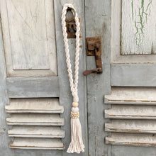 Decorative Macrame and Natural Bead Tassels - Natural Cotton Macramé Tassel Wooden Bead Curtain Tieback Wall Hanging 35cm - Tassel&Plume