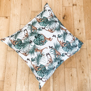 Extra Large Monkey Waterproof Garden Floor Cushion Cover Scatter Pillow Cover Tropical Jungle Rainforest - Clara Shade Sails