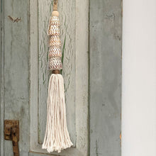 Decorative Macrame Natural Shell Tassels - Natural Cotton Shell Tassel Wooden Bead Curtain Tieback Wall Hanging 35cm - Tassel&Plume