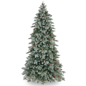 Frosted Colorado Spruce Slim Artificial Christmas tree with pinecones - 2 sizes: 6.5ft 7.5ft - Clara Shade Sails