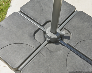 Concrete Four Part Cantilever Parasol Umbrella Base for Patio Garden - 100KG - Clara Shade Sails
