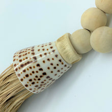 Decorative Macrame Shell & Wooden Bead Tassels - Natural Cotton Shell and Wooden Bead Tassel Curtain Tieback Wall Hanging 35cm - Tassel&Plume