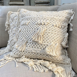 Natural Cotton Macramé Cushion Cover Tassels Fringe Bohemian 45cm - Tassel&Plume