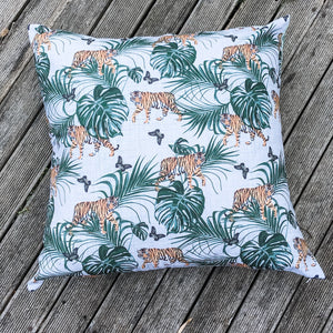 Extra Large Tiger Waterproof Garden Floor Cushion Cover Scatter Pillow Cover Tropical Jungle Rainforest - Clara Shade Sails
