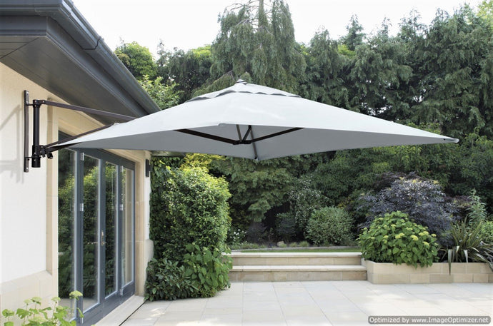 Norfolk Leisure Wall Mounted Cantilever Parasol Umbrella for Garden Patio Terrace 2m Square Taupe or Grey - INCLUDES MATCHING COVER - Clara Shade Sails