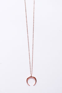 Crescent Moon Rose Gold Necklace