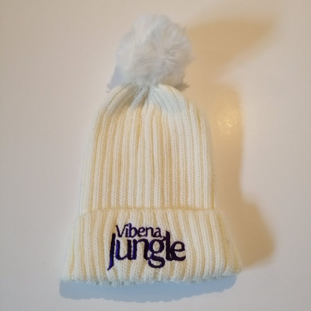 White bobble hat with stitched Purple Vibena Jungle text.