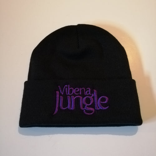 Black Beanie Hat with stitched Purple Vibena Jungle text