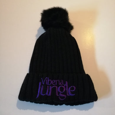 Black Bobble Hat with stitched Purple Vibena Jungle text