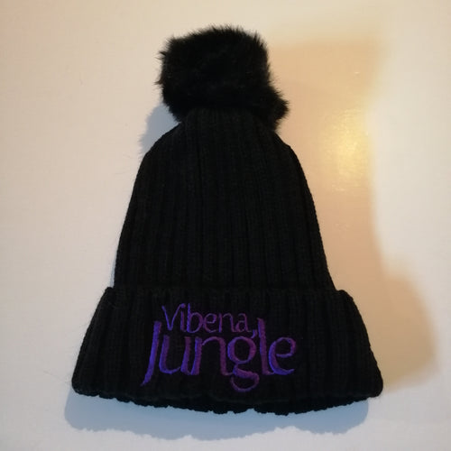 Black Bobble Hat with stitched Purple Vibena Jungle logo *FREE UK POSTAGE*