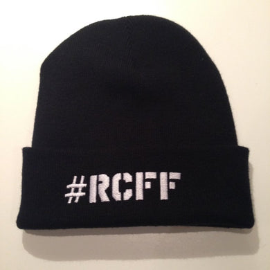 Black Beanie Hat with stitched White #RCFF text