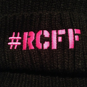 Black Bobble Hat with stitched Pink #RCFF logo *FREE UK POSTAGE*