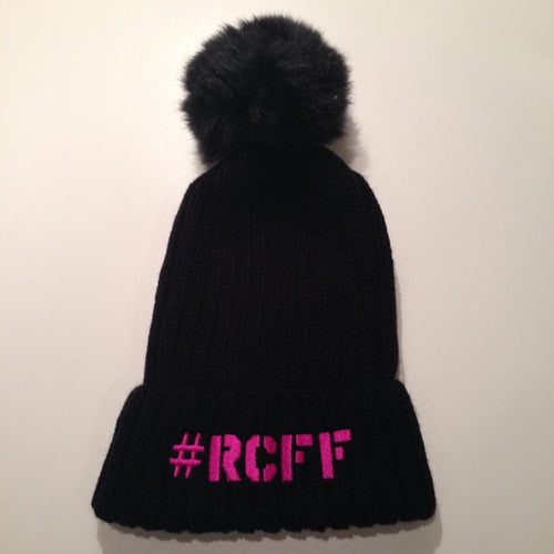Black Bobble Hat with stitched Pink #RCFF text