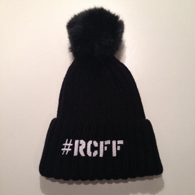 Black Bobble Hat with stitched White #RCFF text