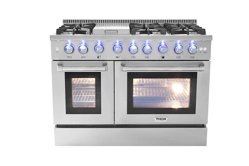 "Thor Kitchen HRD4803U 48"" Professional 6 Burner Dual Fuel Range with Double Ovens Stainless Steel"
