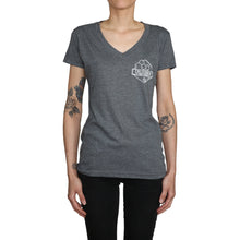Load image into Gallery viewer, Tri-Blend Ladies V-Neck Tee (Charcoal)