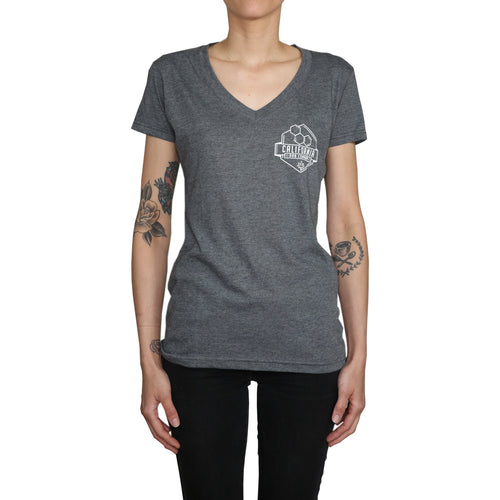Tri-Blend Ladies V-Neck Tee (Charcoal)