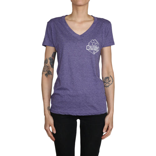 Tri-Blend Ladies V-Neck Tee (Heather Purple)