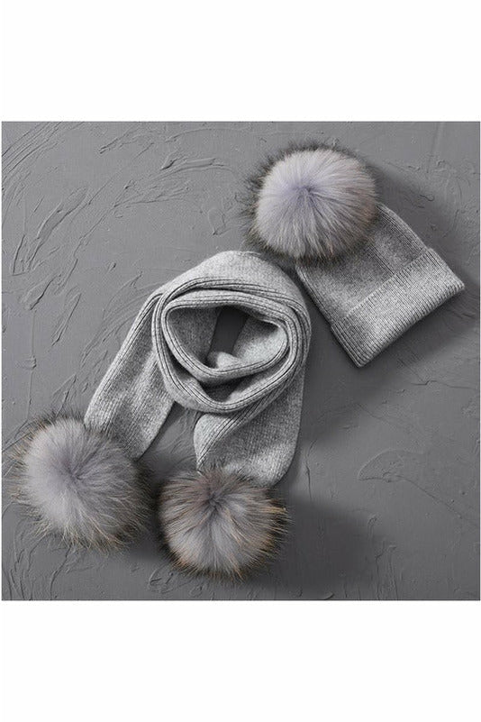 Fox Fur Pom Beanie & Scarf Set Grey