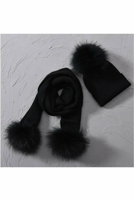Fox Fur Pom Beanie & Scarf Black Separates