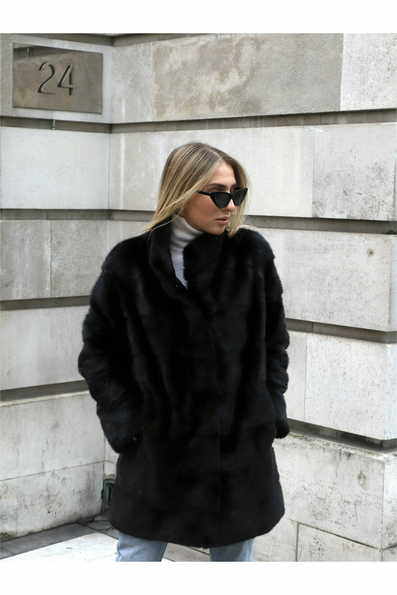 Jona Mink Coat Black
