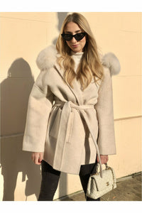Louise Cashmere Blend Coat Cream White