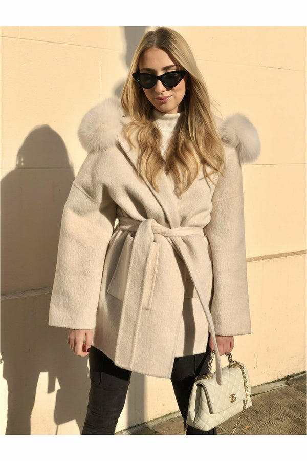 Louise Cashmere Coat Cream White