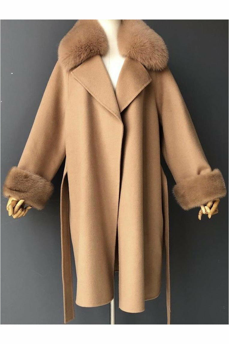The Lea Camel Cashmere Coat w/ Mink & Fox Fur