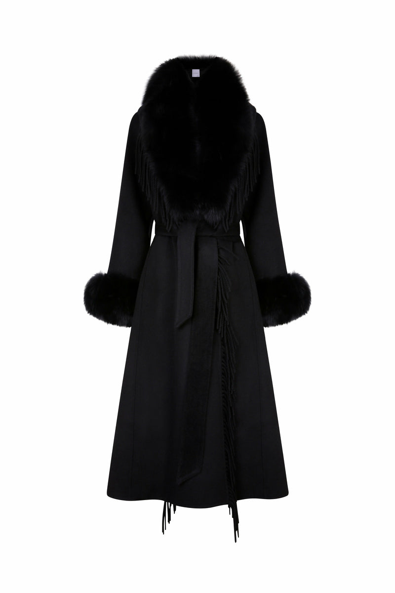Roma Cashmere Fringe & Fox Fur Coat Black