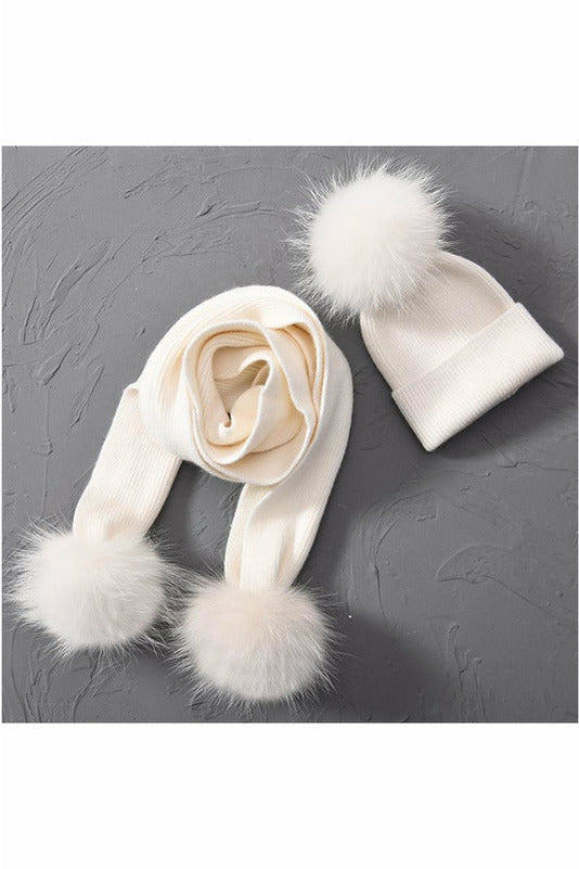 Fox Fur Pom Beanie & Scarf Set White