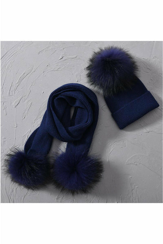 Fox Fur Pom Beanie & Scarf Set Navy